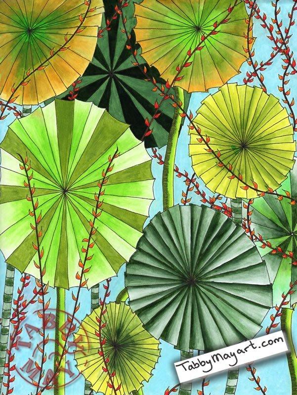Fan palm Doodled Blooms