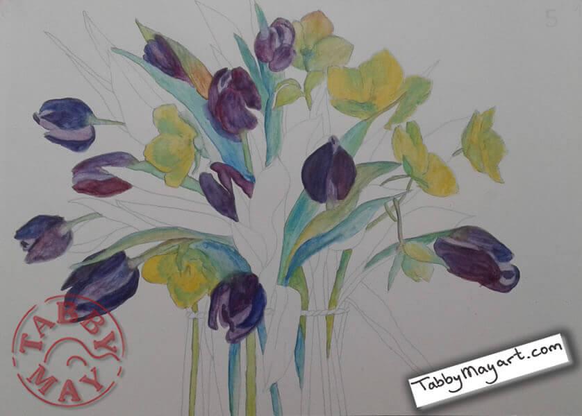 Review Tulpen aquarelleren lenteboeket voortgang