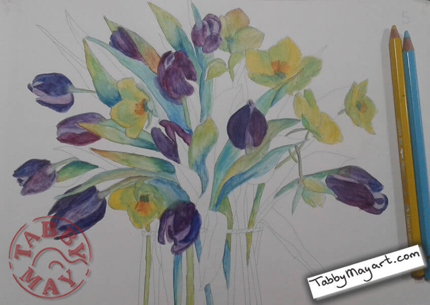 Review Review Tulips in watercolour spring bouquet progress