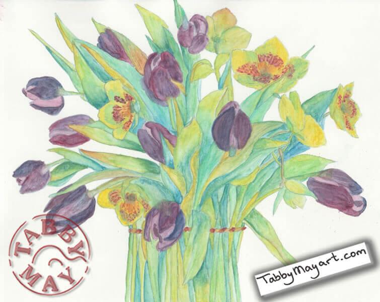Review Tulpen aquarelleren lenteboeket eindresultaat