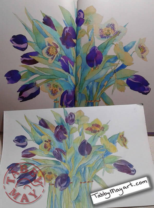 Review Review Tulips in watercolour spring bouquet end result