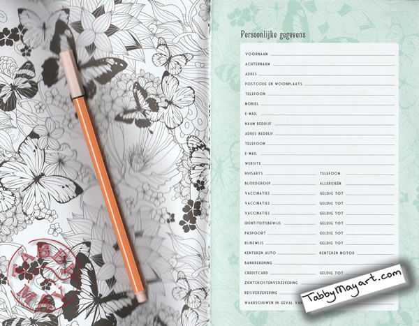One and Only Coloring Agenda 2017 page for personal data
