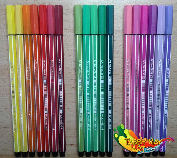 Doodelen - Kleurenpalet Stabilo 68 - Tabby May Art - Kleuren voor volwassenen
