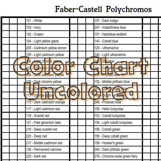fabercastell  polychromos  color chart 120 colors