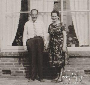 Auntie Dien and uncle Wim in their garden 1963