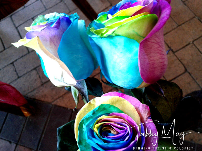 10 - artificially multi colored roses