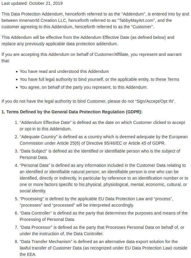 Data protection addendum 01