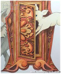 Coloring a clock door with Derwent Inktense pencils